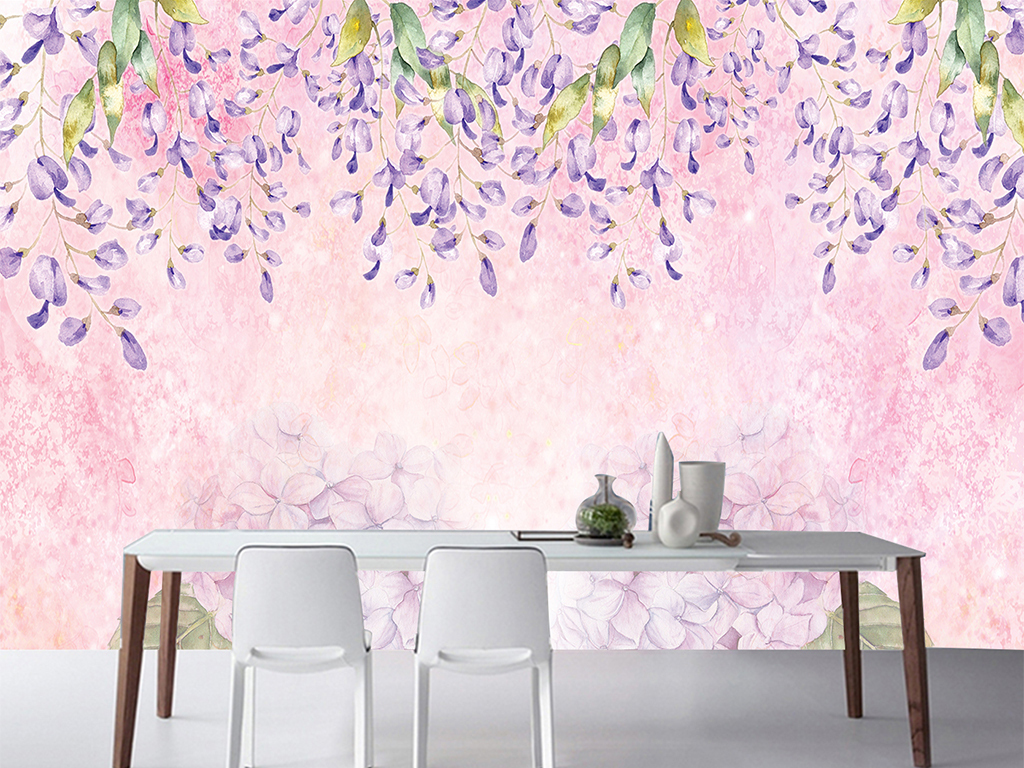 浪漫手绘花卉油画水粉壁画背景墙