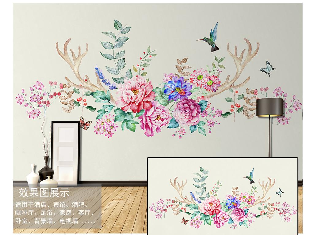 北欧手绘鹿角花卉背景墙装饰画
