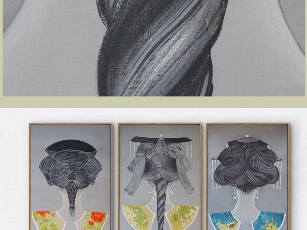 背景墙|装饰画 无框画 中国风无框画 > 新中式典背影发饰系列高清装饰图片