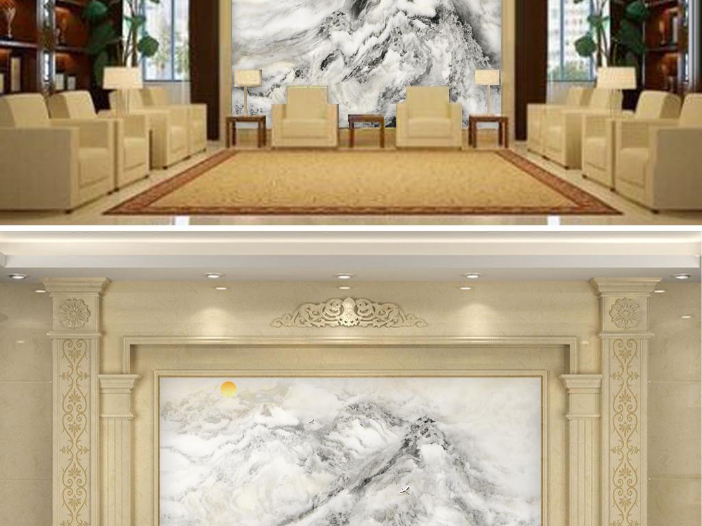 大型超高清水墨石锦绣河山背景墙
