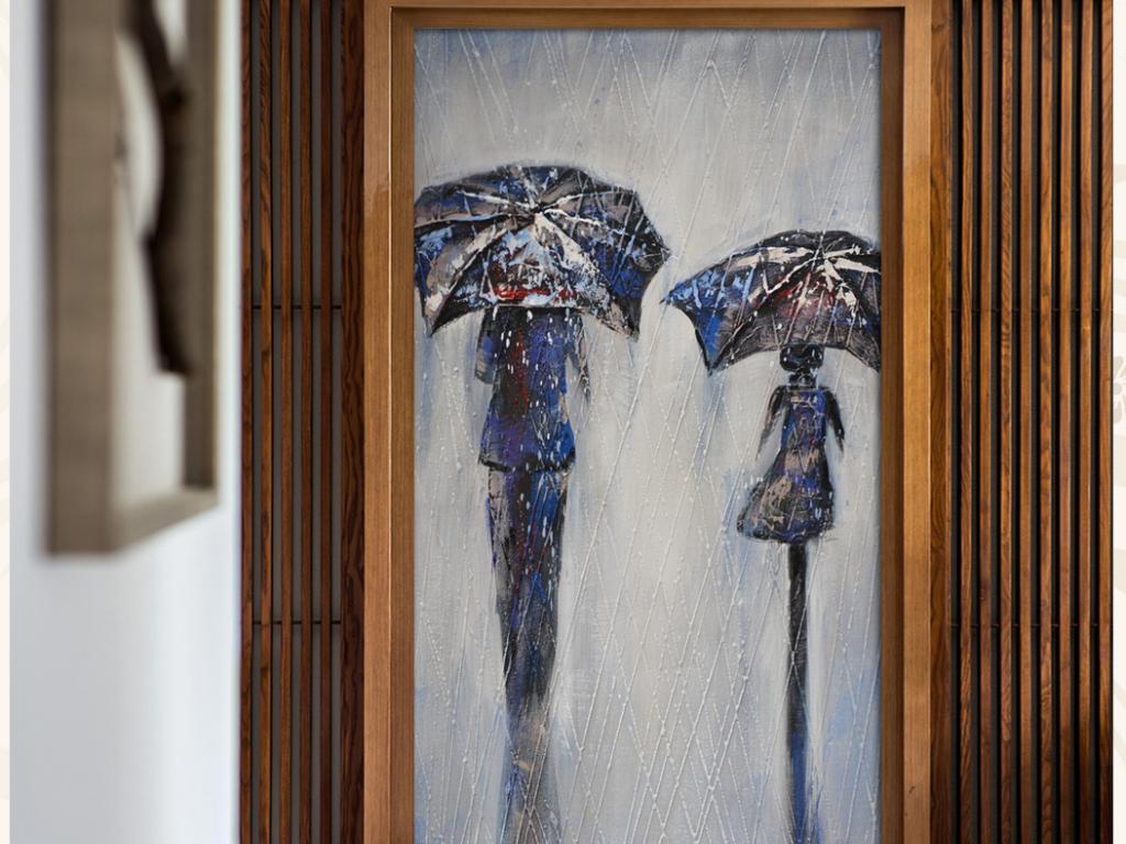 纯手绘油画雨中行艺术玄关