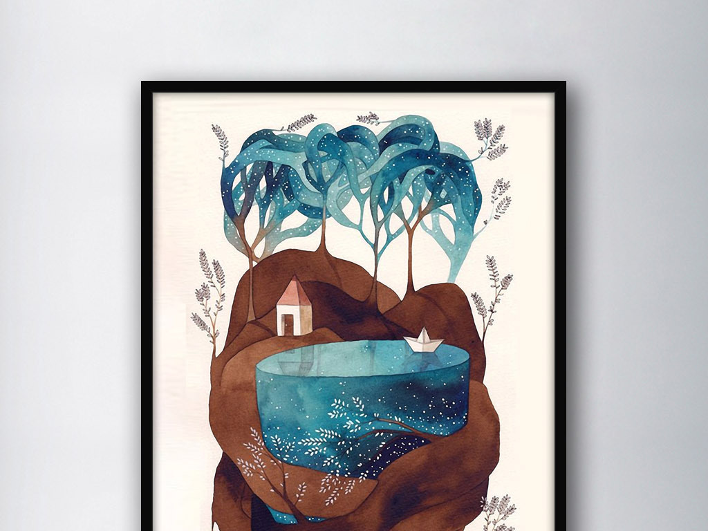 创意艺术现代欧式小清新家居装饰画素材下载,作品模板源文件可以编辑图片