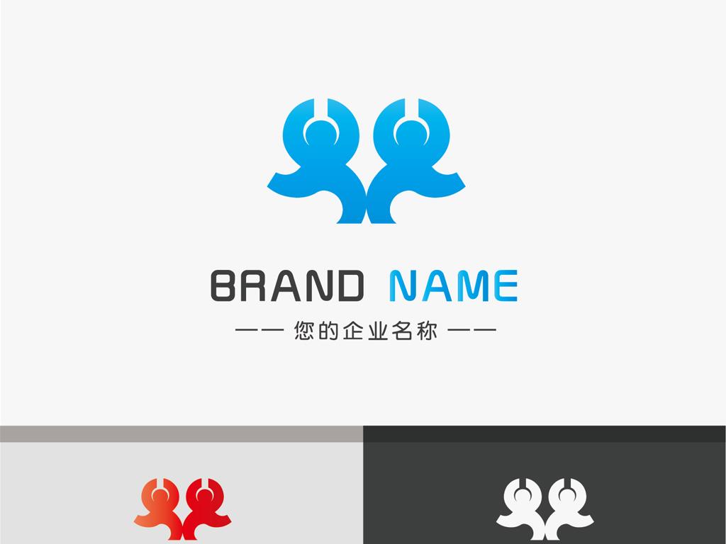 舞蹈双小人logo科技品牌手绘标志设计