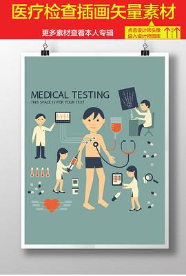 医疗插画健康检查身体卡通医生病人