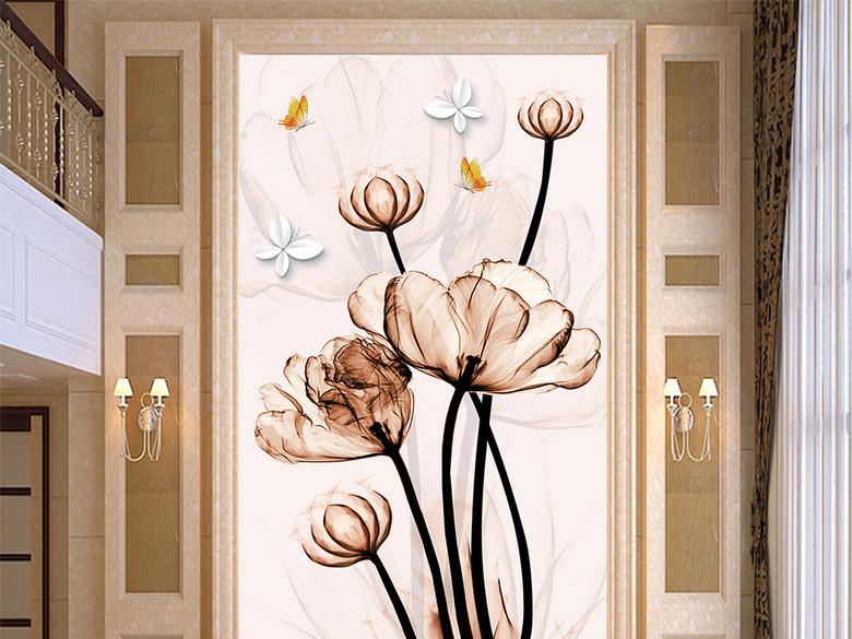 时尚透明玉兰花卉玄关背景墙