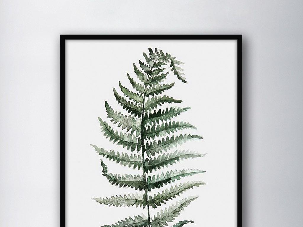 青色植物叶子北欧简约现代欧式家居装饰画