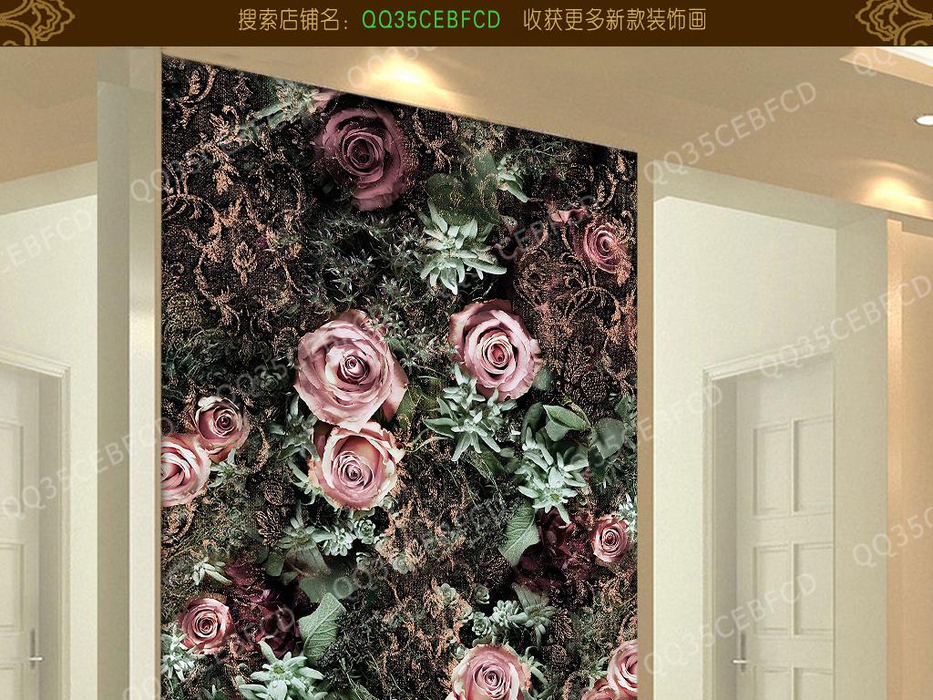简约美式墙纸素材玫瑰花玫瑰花欧式花纹墙纸墙纸图片欧式墙纸墙纸壁画