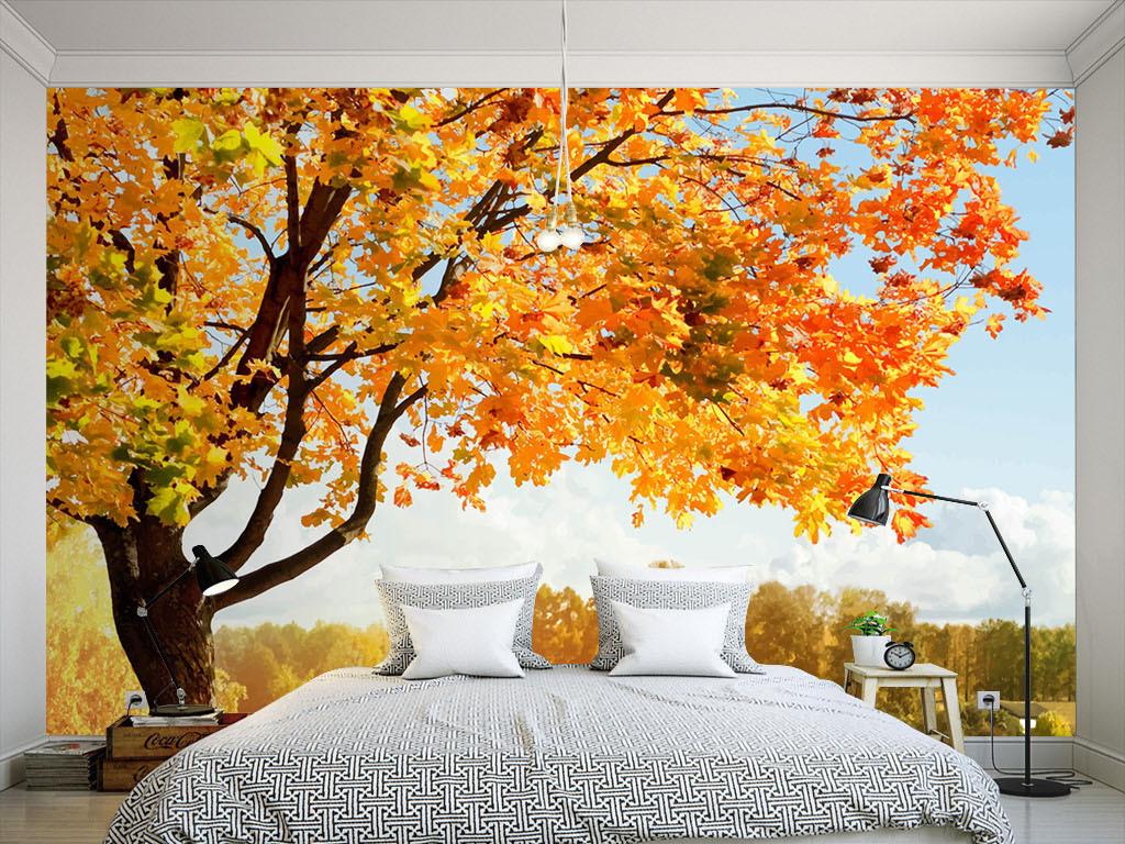 背景墙|装饰画 墙纸 现代简约墙纸 > 现代枫叶风景墙纸  版权图片
