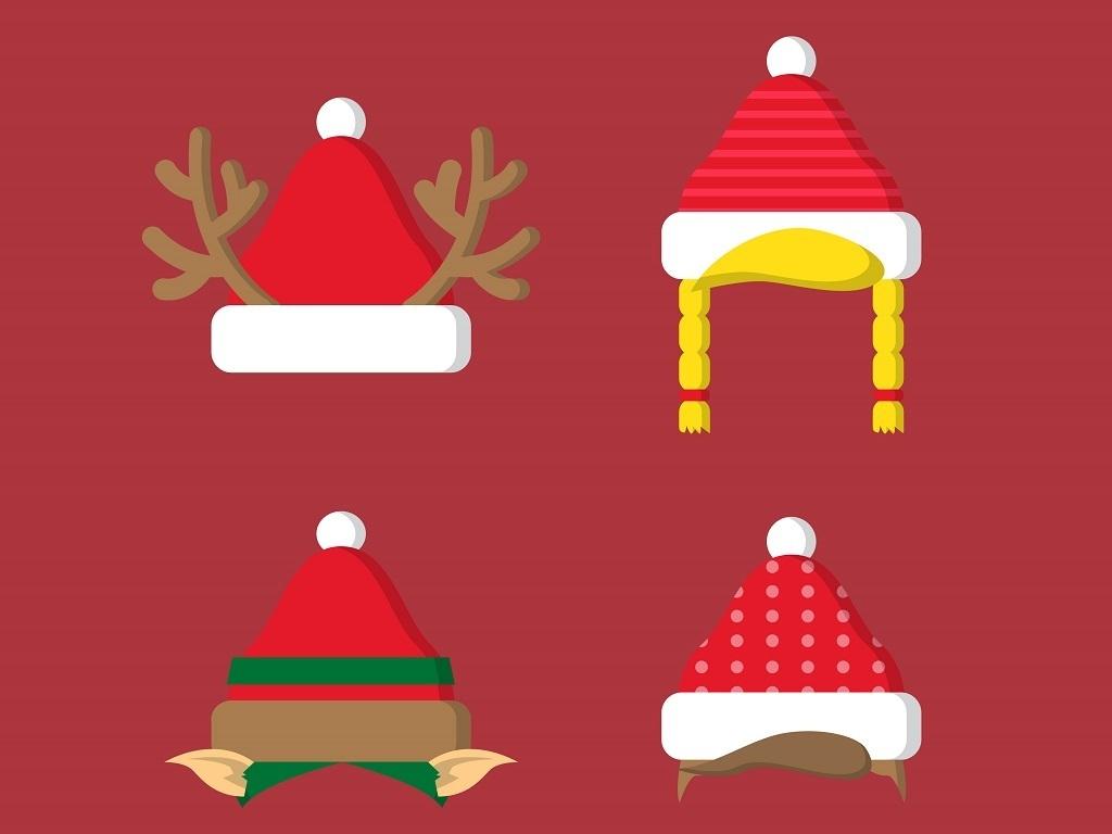 多款圣诞帽子矢量图