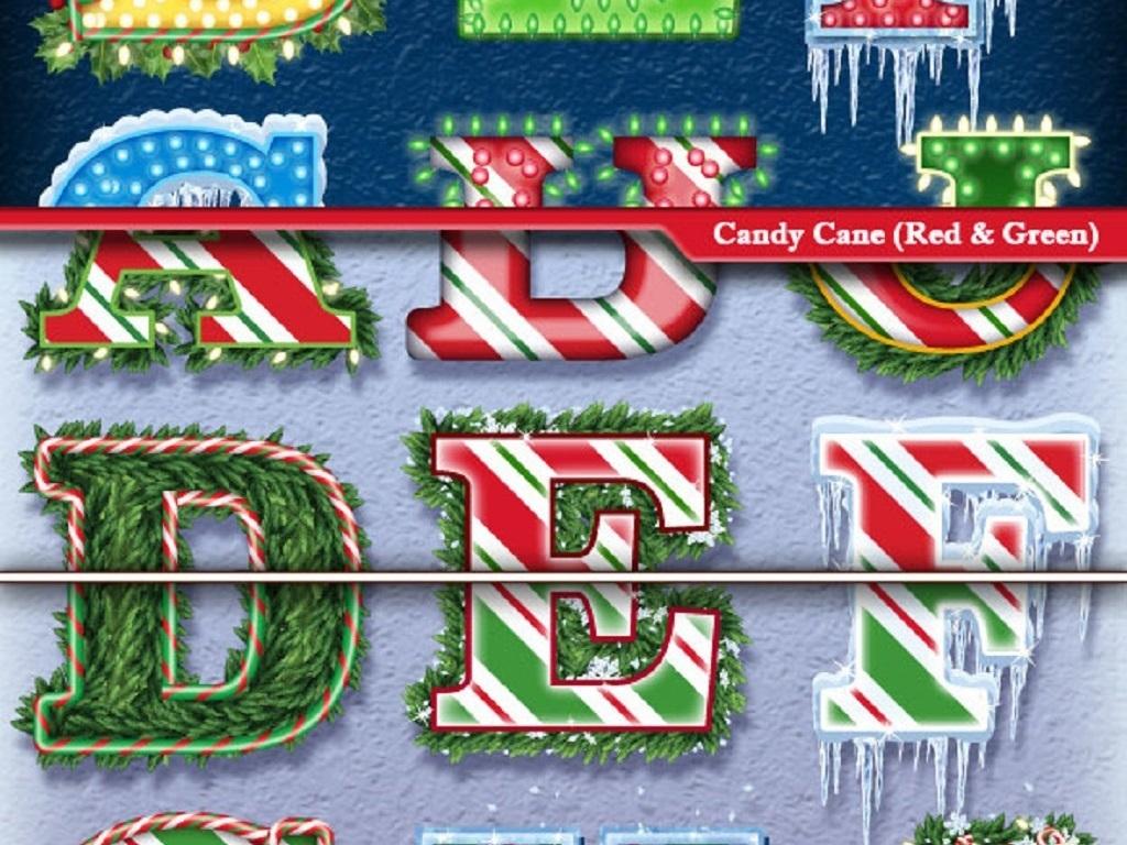 创意圣诞节字体图形设计元素大全图片