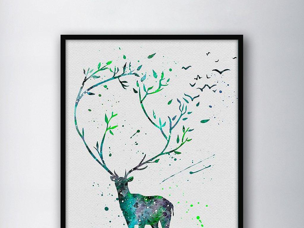 水彩挂画手绘绘画唯美简约极简主义简欧欧式