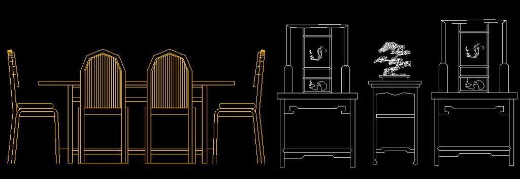 室内设计常用图块桌椅cad平面立面图块