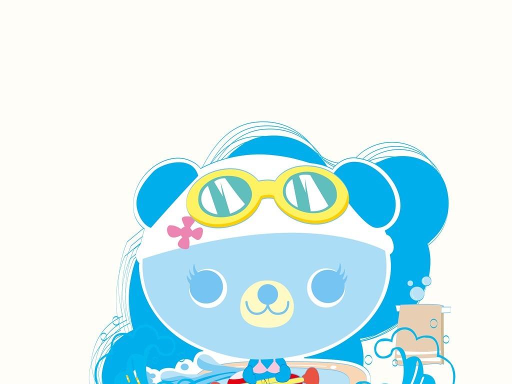 小熊游泳卡通动物装饰插画