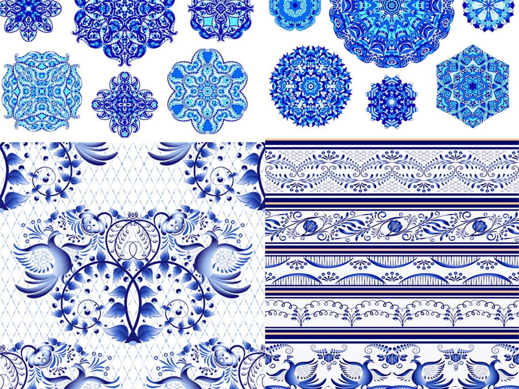 矢量eps源文件蓝色青花瓷纹样复古花纹边框底纹设计素材