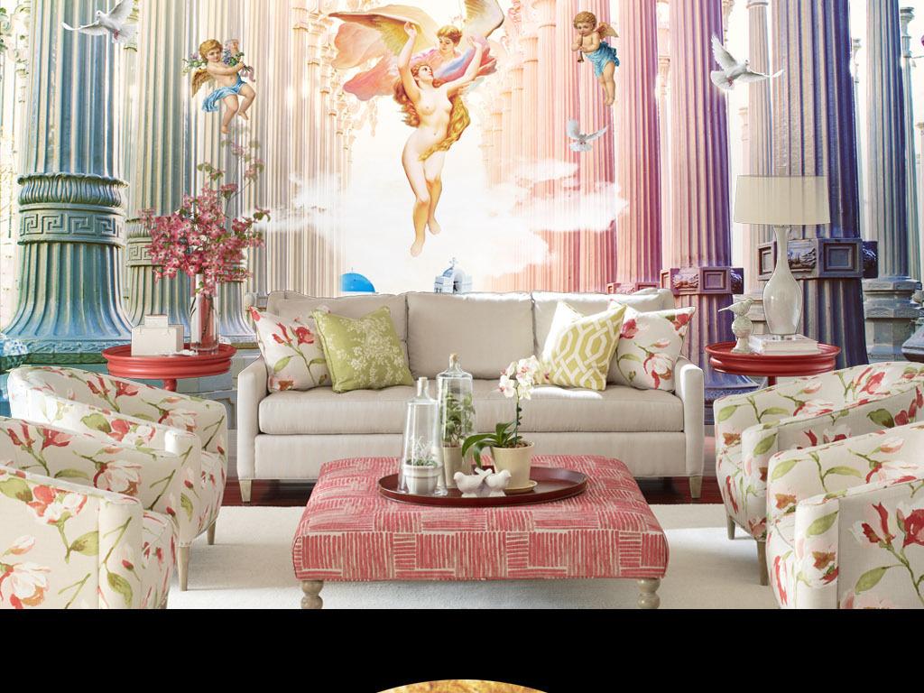 卧室背景墙教堂画插画欧式背景电视背景电视天堂背景欧式天堂背景壁画