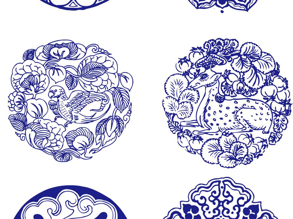 中国风青花瓷器团花纹龙凤花边矢量素材 矢量图, rgb格式高清大图