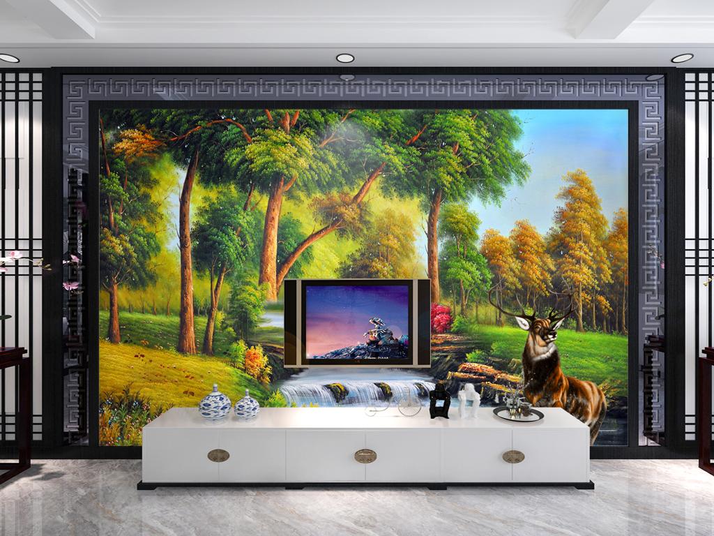 山水画小河小鹿风景画风景麋鹿欧式背景电视背景森林麋鹿3d背景森林