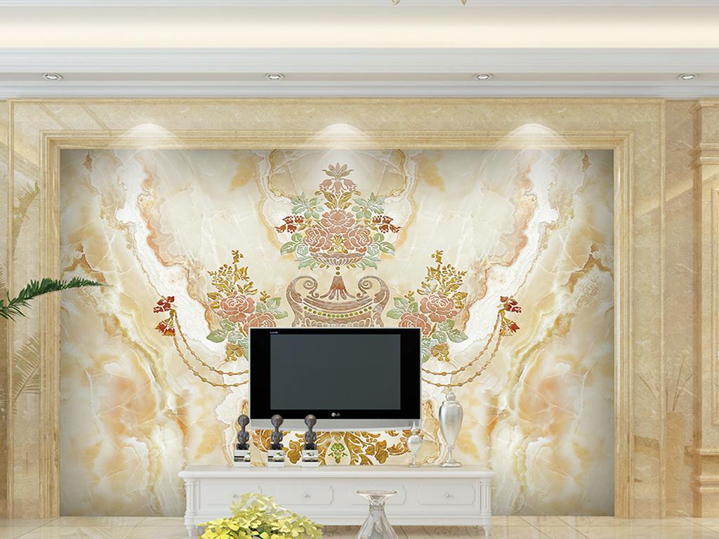背景墙|装饰画 电视背景墙 欧式电视背景墙 > 简欧高档欧式花纹大理石
