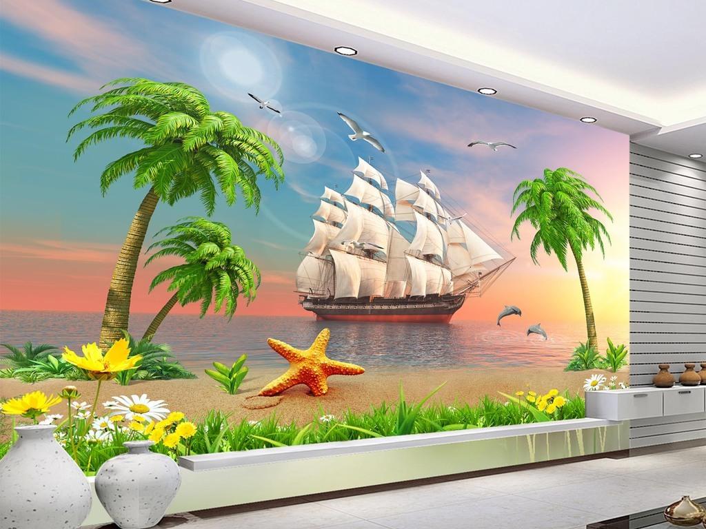 夕阳美景帆船一帆风顺海景椰子树电视背景墙