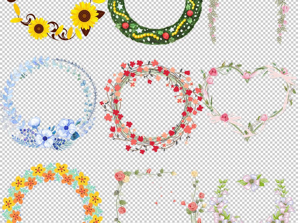 海报素材集合手绘花朵可爱边框手绘素材玫瑰花环时尚花环圣诞花环花环