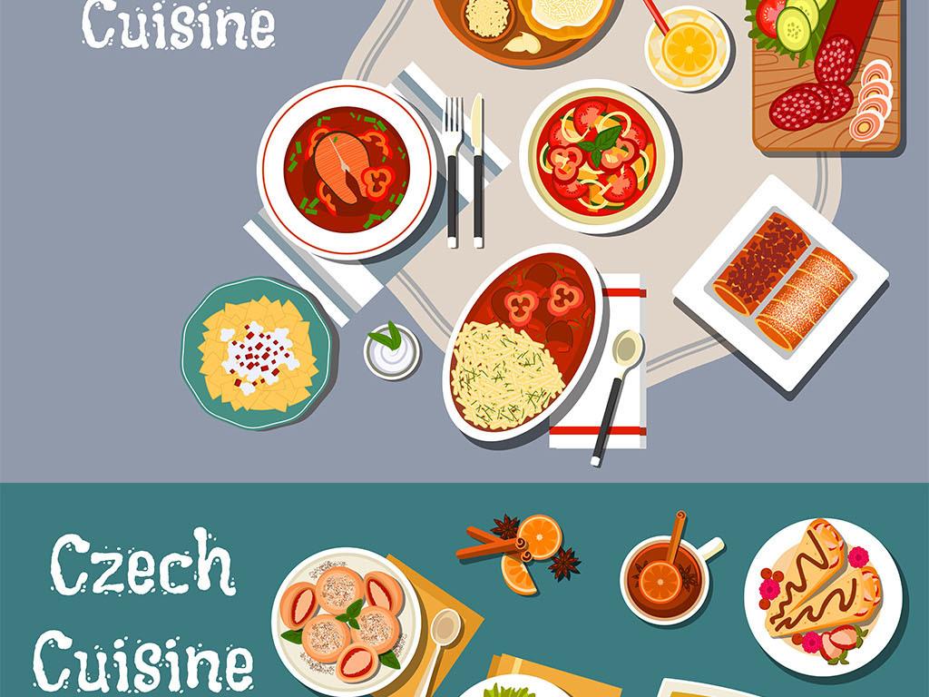 手绘餐饮美食矢量插画海报装饰画元素合集