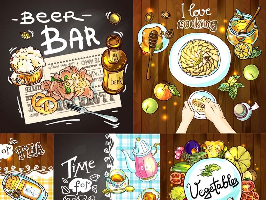 餐饮广告餐饮素材餐饮海报餐厅装饰画手绘美食披萨汉堡