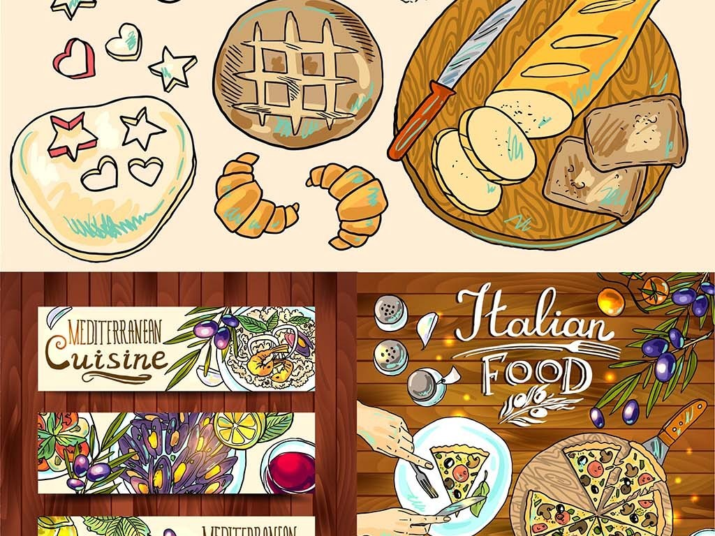 时尚手绘餐饮美食矢量装饰插画海报元素合集