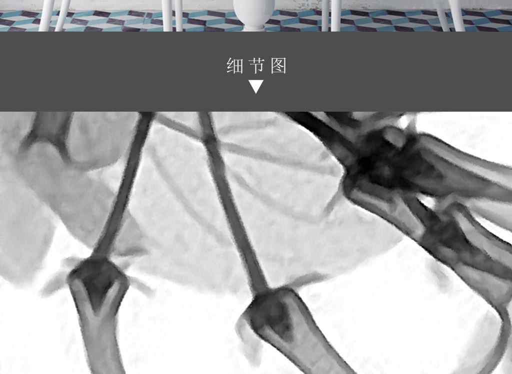 树枝花卉黑白手绘欧式现代简约家居装.