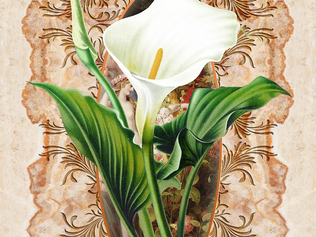 背景墙|装饰画 玄关 彩雕玄关 > 马蹄莲花卉大理石纹欧式玄关  版权
