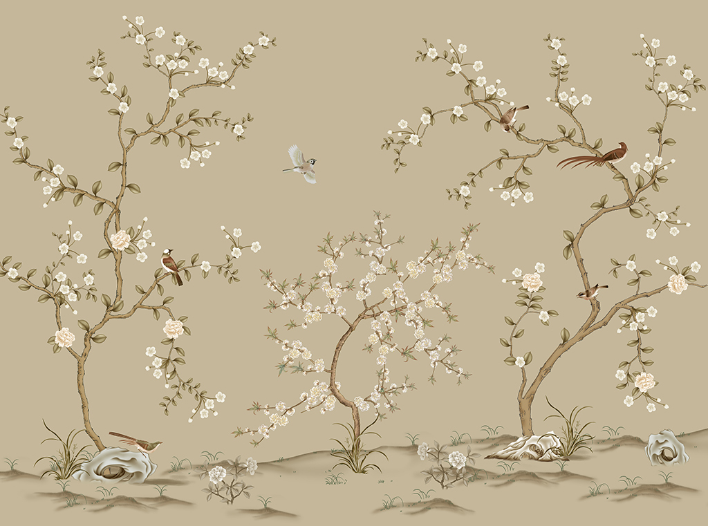 现代简约手绘工笔花鸟中式电视背景墙壁画软包