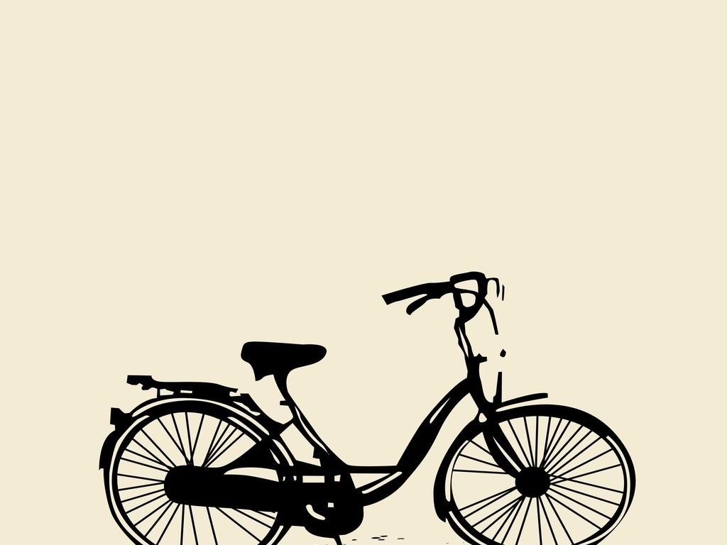自行车手绘自行车剪影