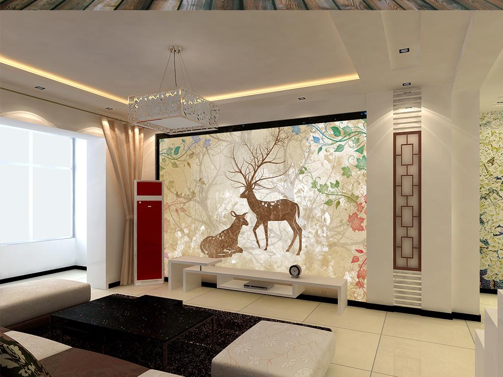 欧式花纹森林小鹿抽象树大理石背景墙