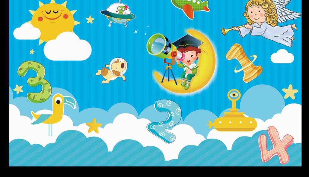蓝天白云数字卡通背景墙(图片编号:15946317)_儿童房图片