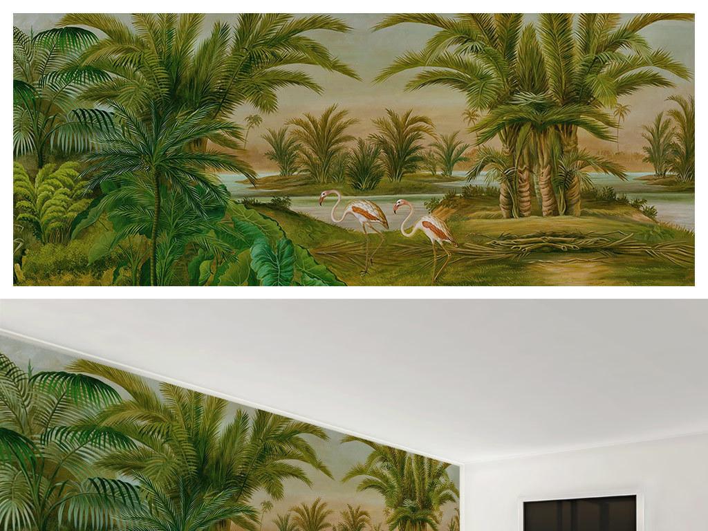 欧式复古手绘热带植物怀旧背景墙