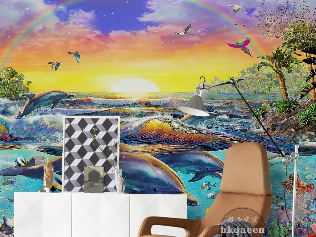 背景墙|装饰画 电视背景墙 手绘电视背景墙 > 唯美风景海豚倒影飞鸟