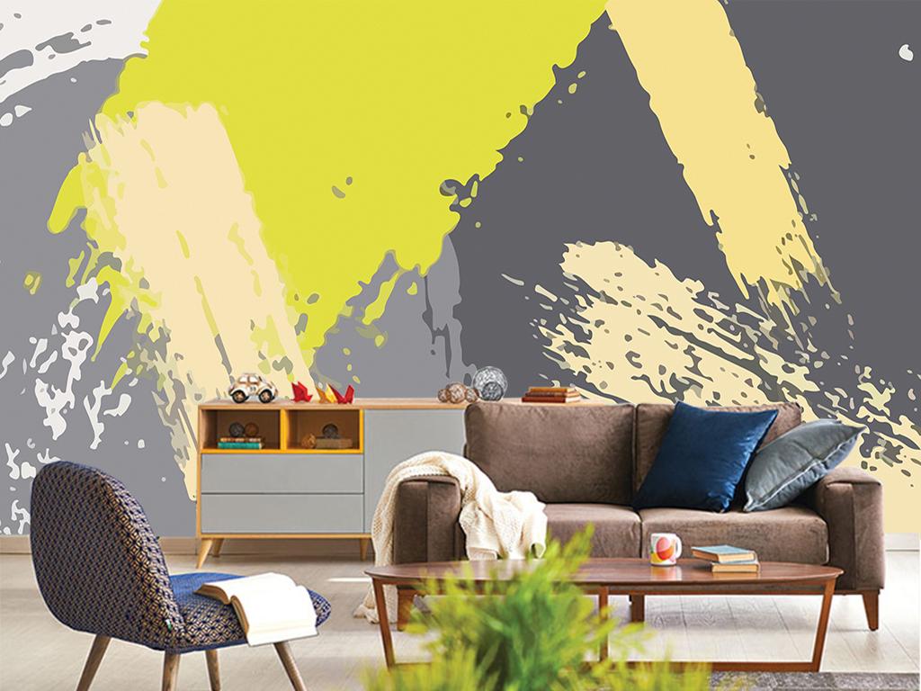电视背景墙壁画壁纸墙纸泼墨水墨泼彩几何