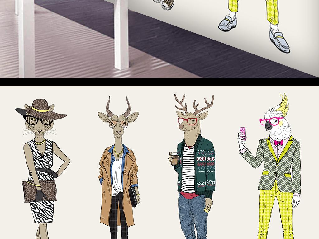 背景墙|装饰画 工装背景墙 卖场|服装店背景墙 > 卡通动物模特背景墙