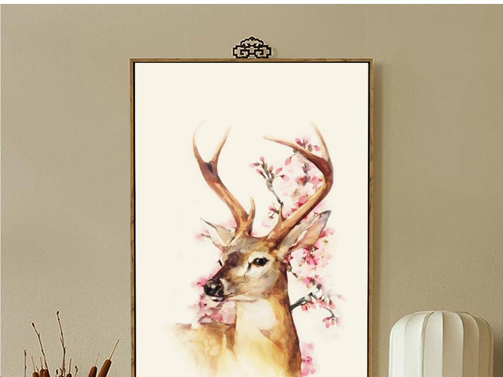 北欧三联无框画麋鹿森林手绘花鸟装饰画复古