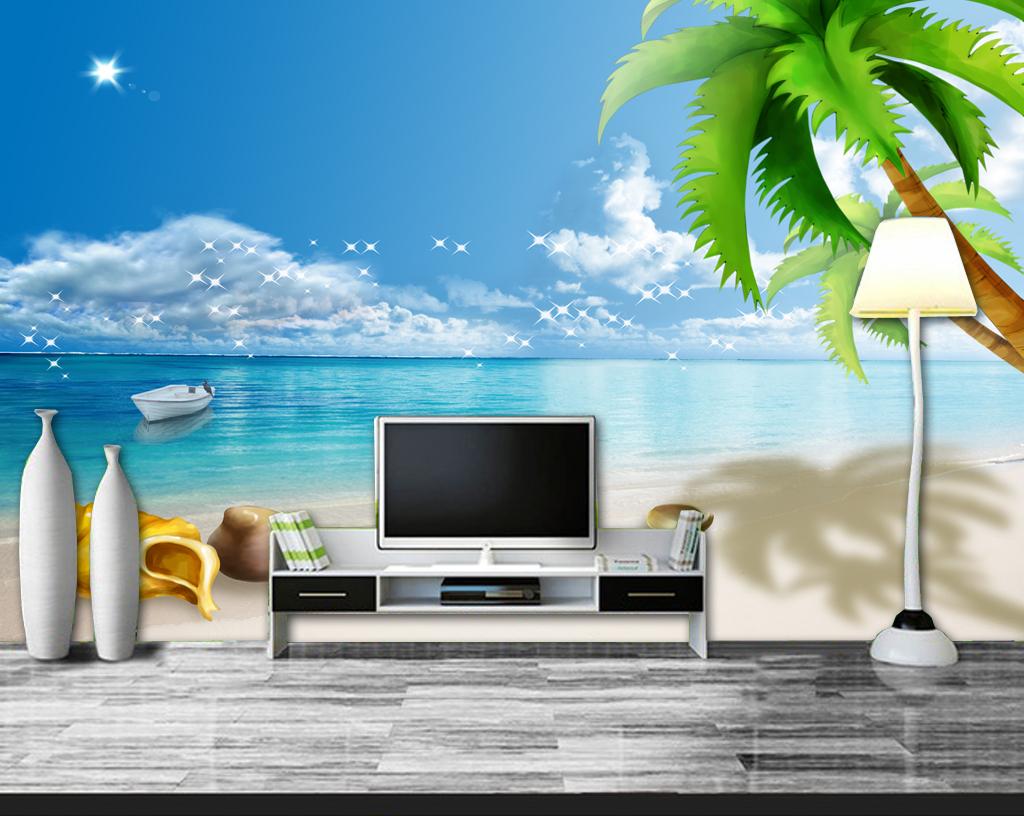 唯美电视墙沙发背景壁画墙画温馨时尚客厅梦幻海螺个性壁画个性电视墙
