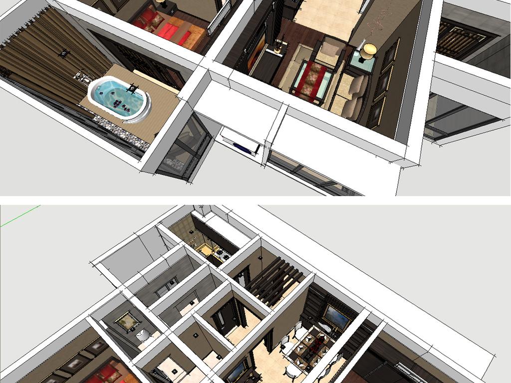 胡桃木家具                                  新中式家装装修su
