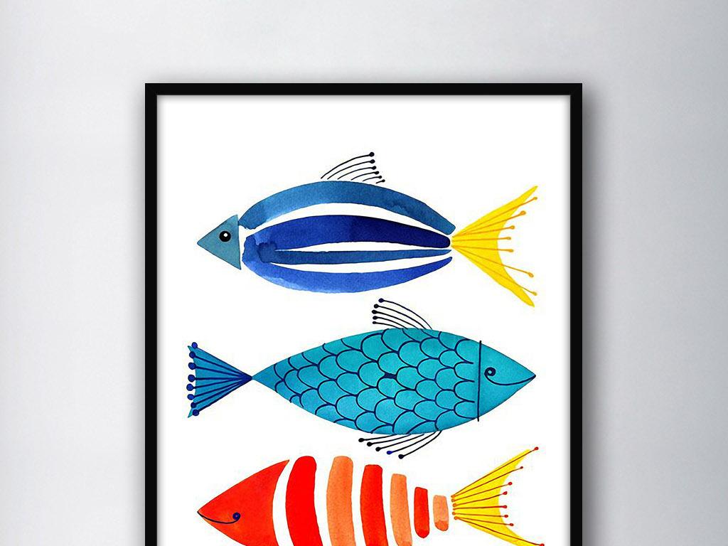 三只彩色鱼北欧小清新手绘欧式家居装饰画(图片编号:)图片