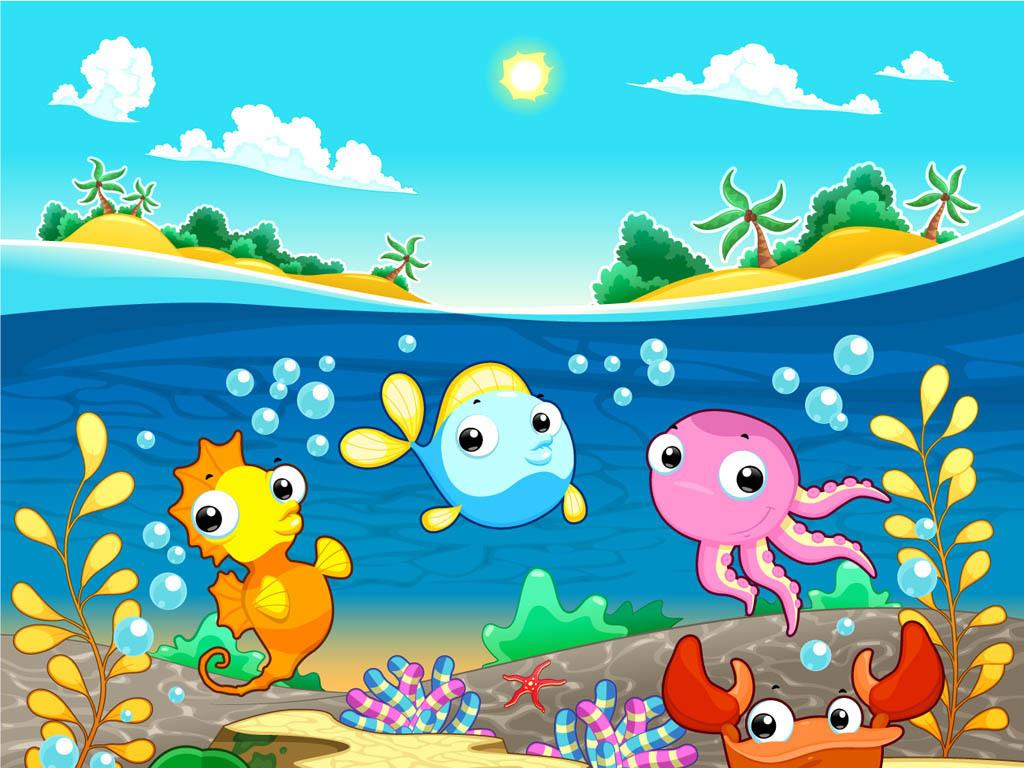 精美时尚可爱卡通动物海底世界素材