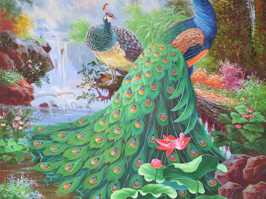 孔雀森林风景高清画质油画艺术玄关