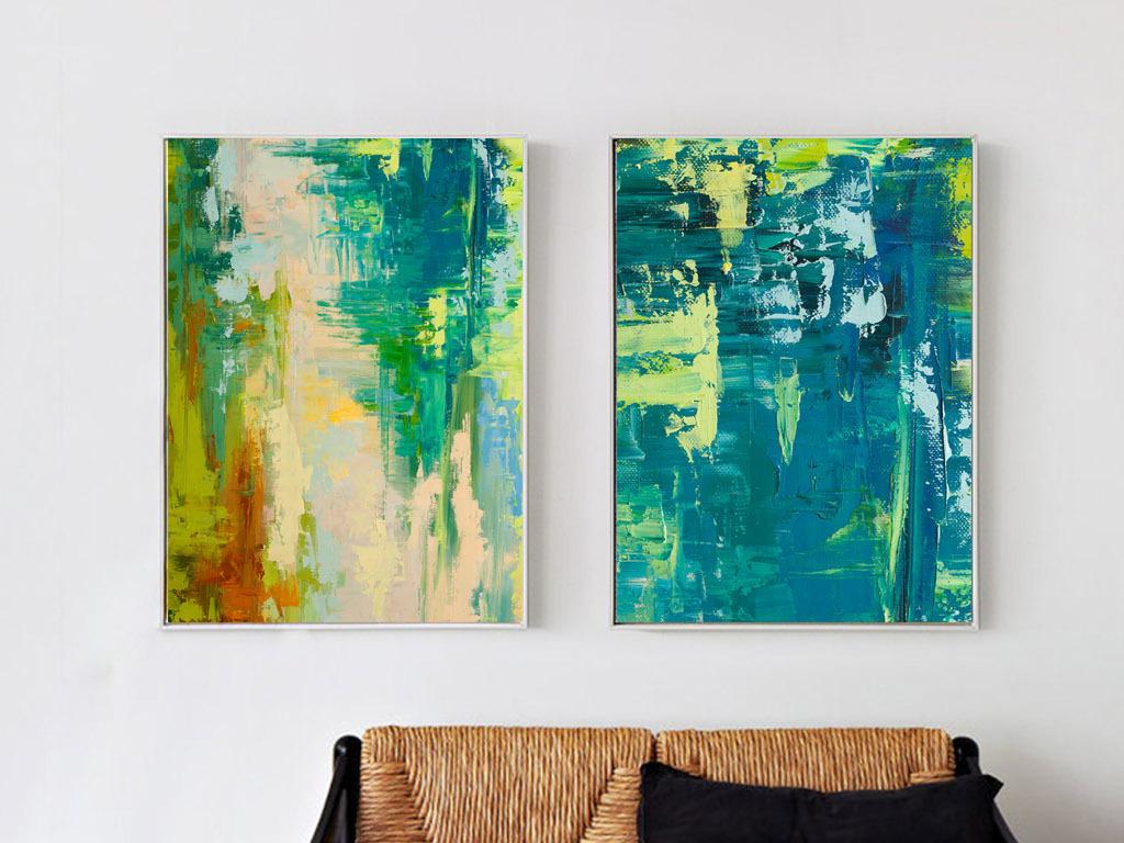 现代简约多彩绿色手绘肌理抽象挂画油画