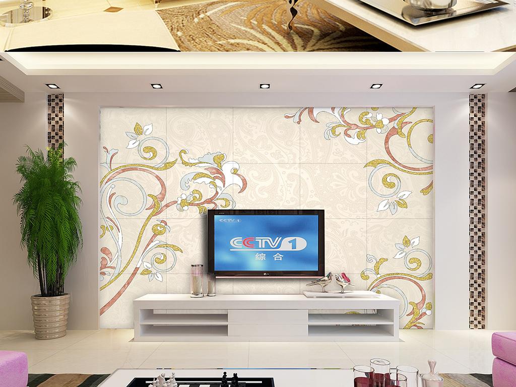 2017新款欧式典雅大理石纹电视背景墙图片