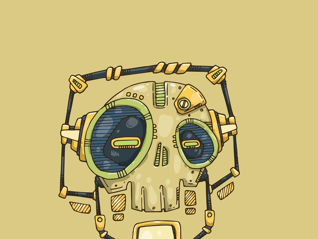 手绘恐怖骷髅头插画矢量素材机器人骷髅元素插画设计元素