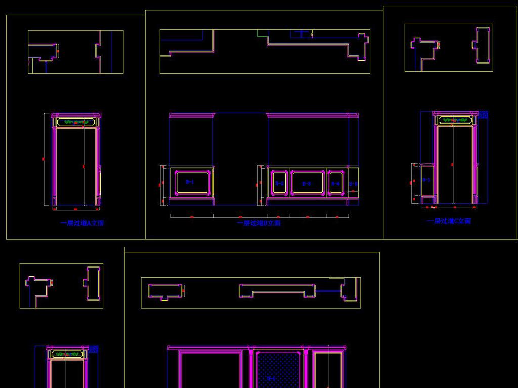 cad图库 室内设计cad图库 别墅cad图纸 > 跃层欧式别墅护墙板cad施工