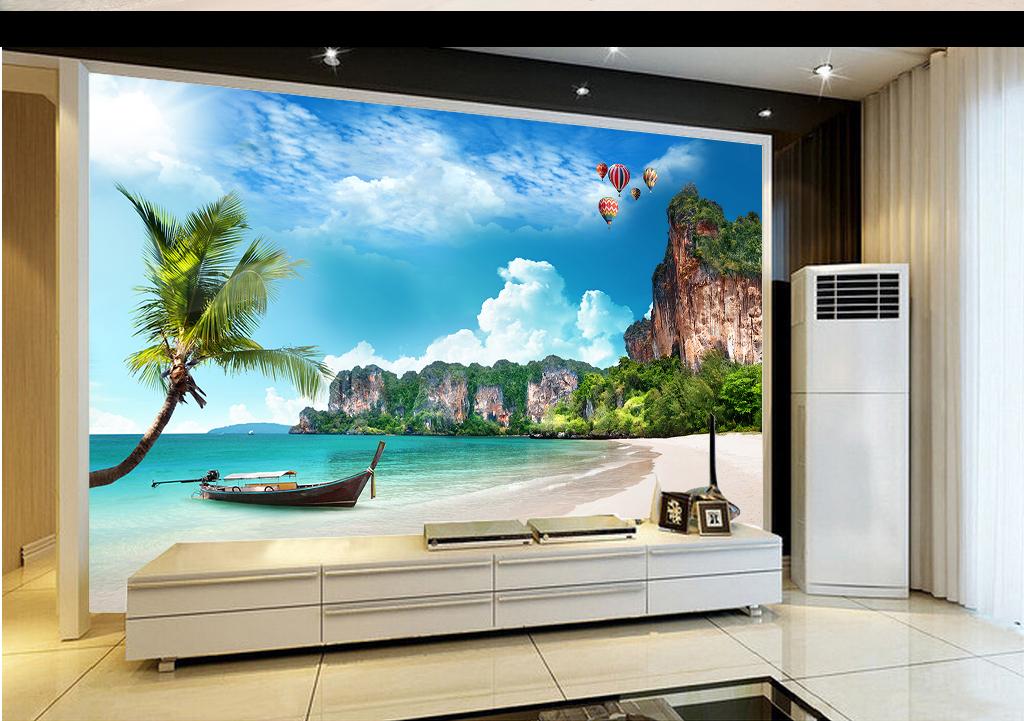 沙滩海滩椰树蓝天白云小岛海景背景墙