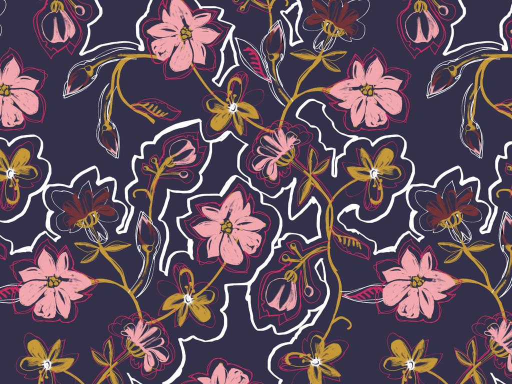 涂鸦图案手绘图案设计抽象几何花型设计插画植物花卉欧式花纹