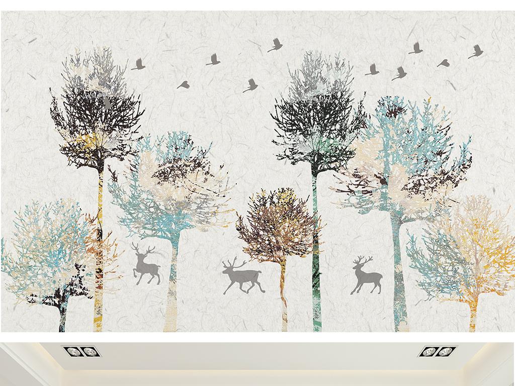 欧式麋鹿森林抽象画树林背景